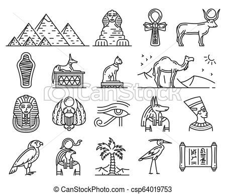 Ancient Egypt gods, travel and religion symbols.