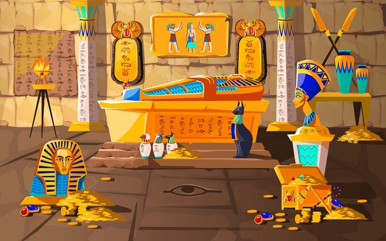 Ancient Egypt tomb of pharaoh cartoons vector.