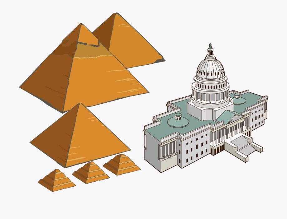 Egyptian Pyramids Cartoon Architecture European Tourism.