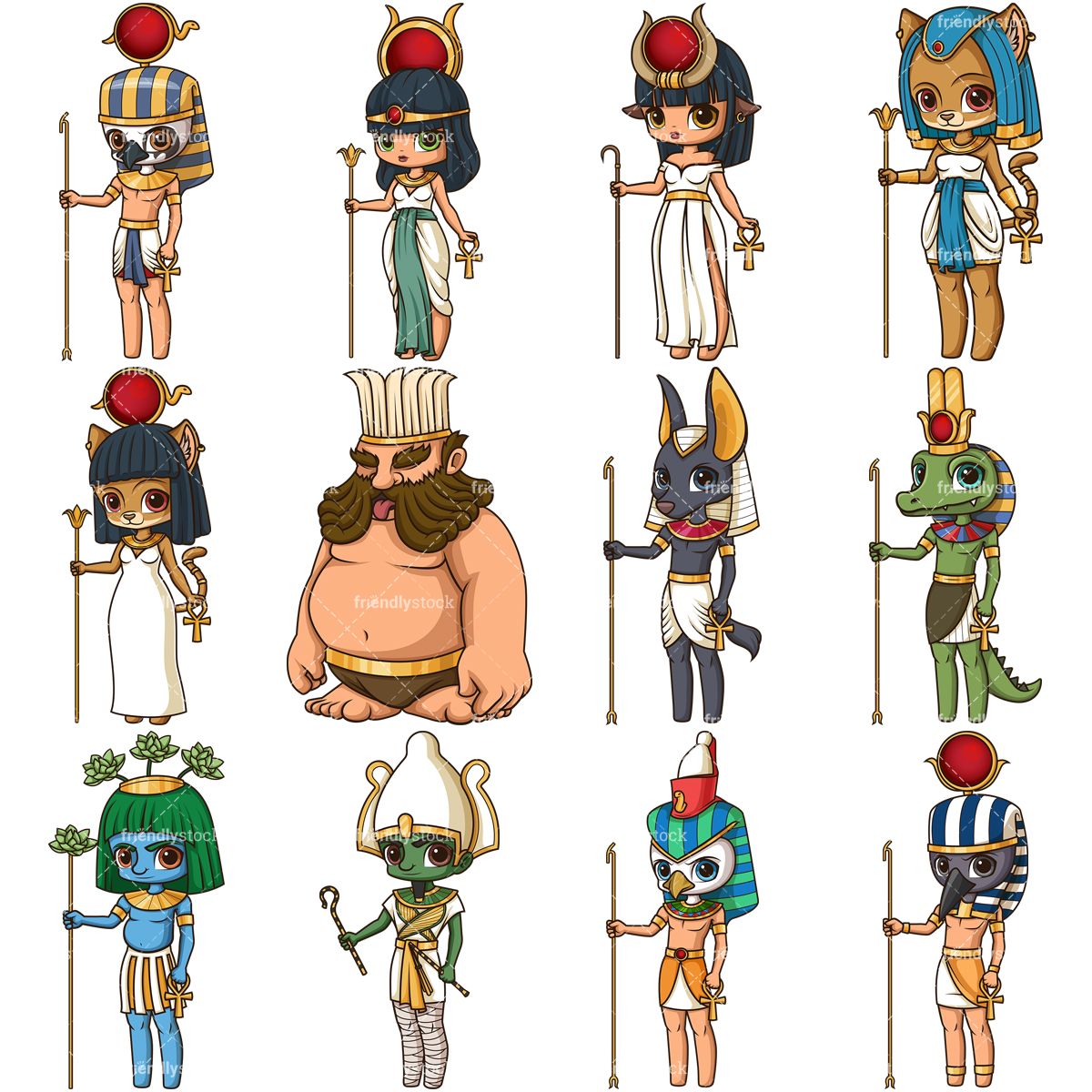 Ancient Egyptians Gods Collection.