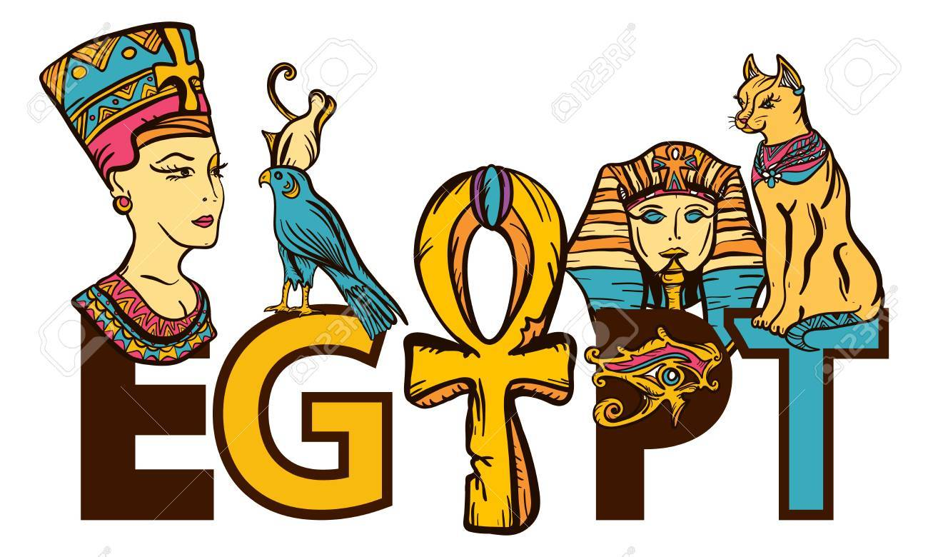 Ancient Egypt seamless pattern, old school tattoo. Egypt.