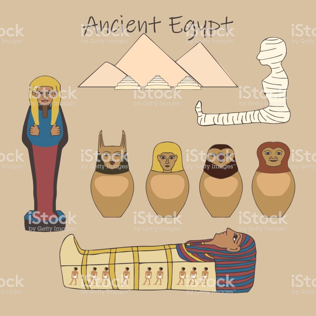 Ancient Egyptian Burial Accessories Cartoon Set Stock.