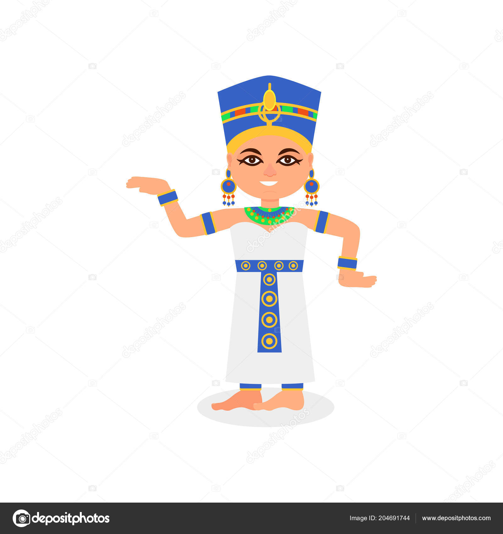 Smiling Egyptian woman in dancing action. Queen of ancient.