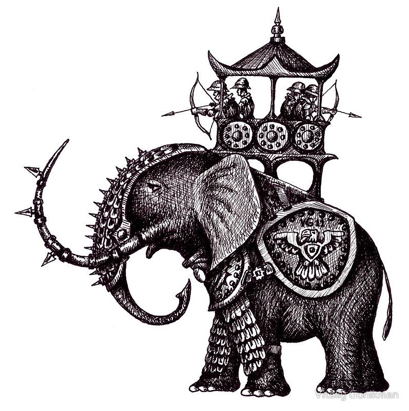 War Elephant black and white pen ink drawing\' Photographic.
