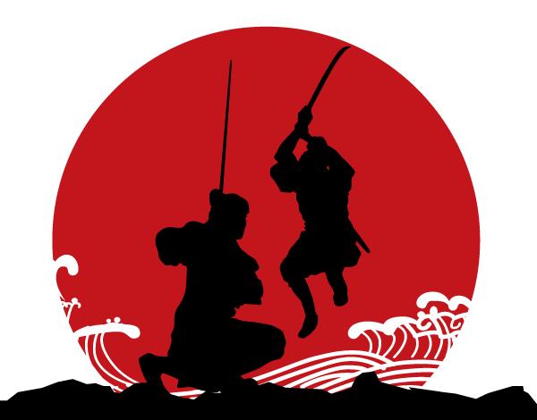 Japanese Samurai Armor Vector Silhouettes.