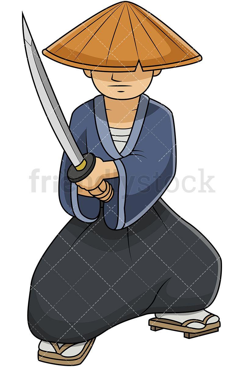 Japanese Samurai Wearing Straw Hat And Holding Katana Sword.