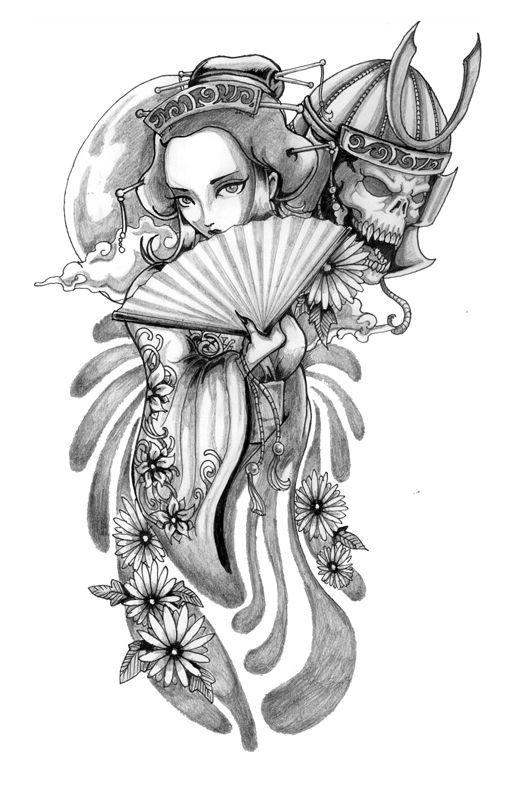 Tattoo Geisha Samurai Drawing.