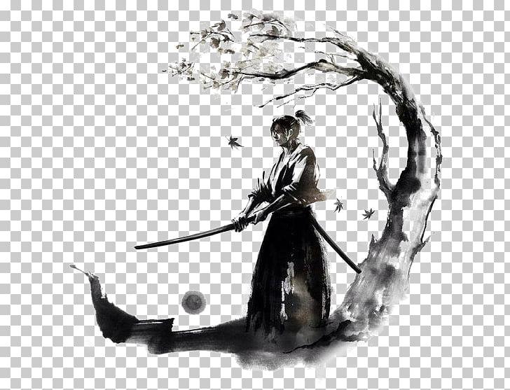 Japan Samurai Drawing Bushido Ink, warrior, man holding.
