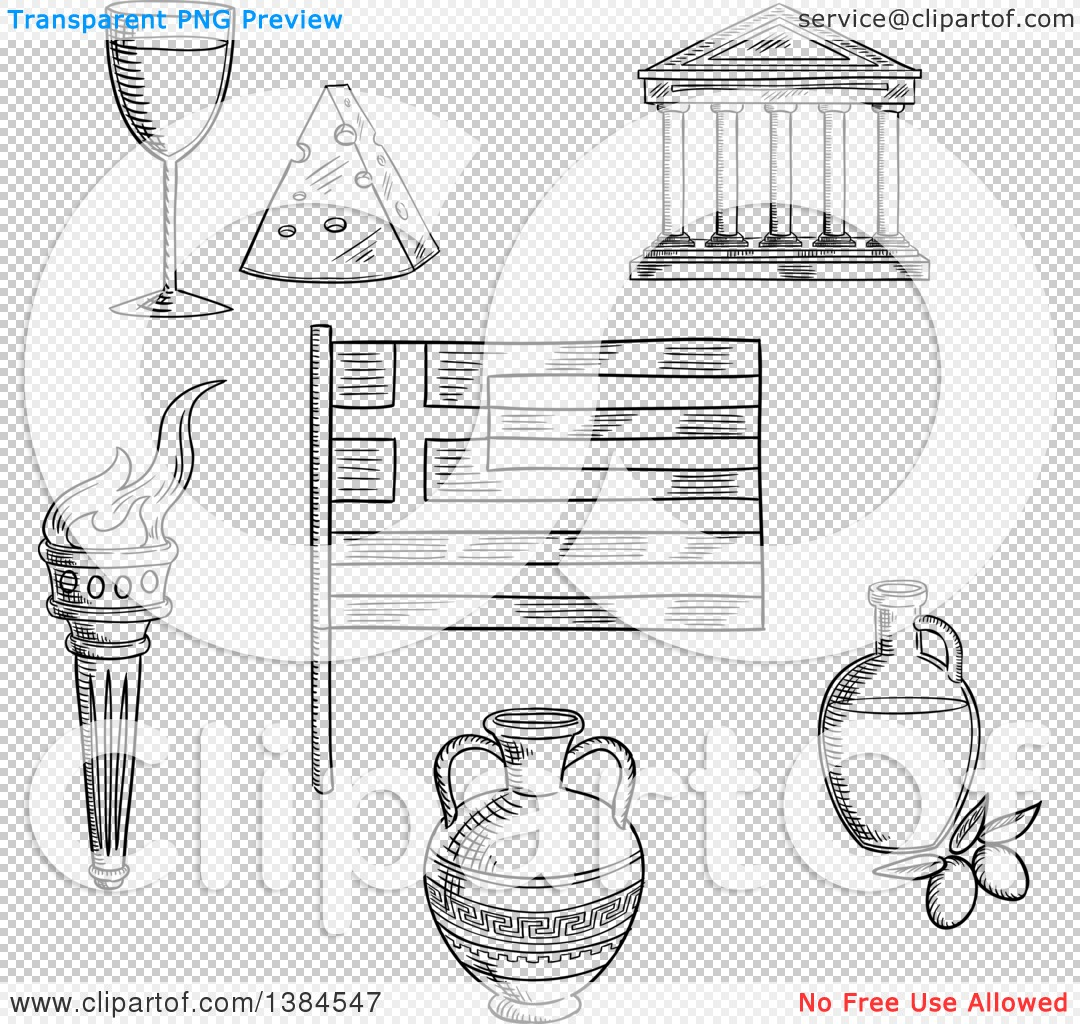 Clipart of a Black and White Sketched Greek Flag, Parthenon Temple.