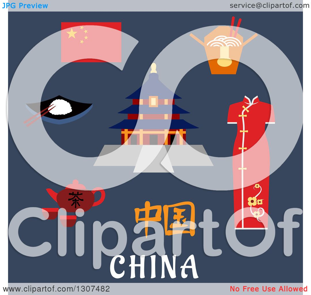 Clipart of Flat Design China Travel Icons National Flag, Woman.