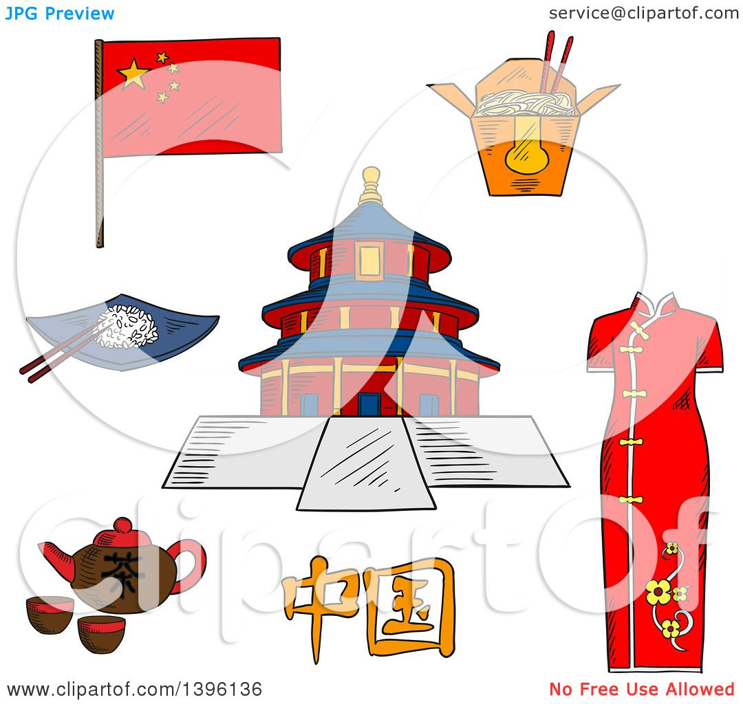 Clipart of a Sketched Chinese Travel Icons National Flag, Woman.