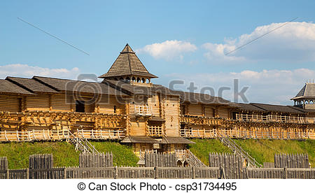Ancient wooden fortifications around the city.