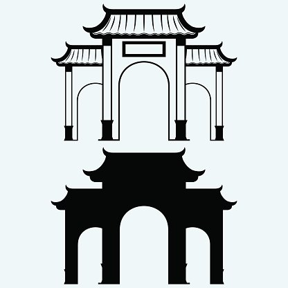 Ancient Chinese gate Clipart Image.