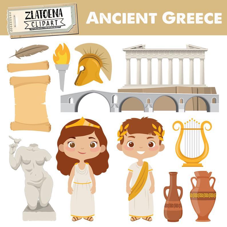 Greece Clip art Ancient Greece Clipart Travel clipart Greek clip art  Gladiator clipart Greece graphics Harp Greek Ancient civilizations.