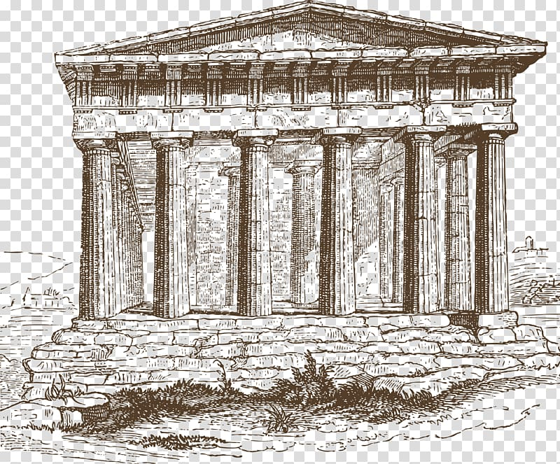 Ruins sketch, Temple of Hephaestus Ancient Greece Doric.