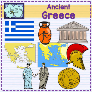 Ancient Greece map and art clipart.