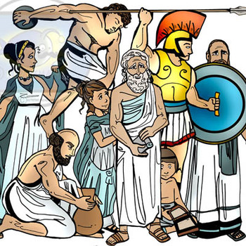 Ancient Greece People: 16 pc. Clip.