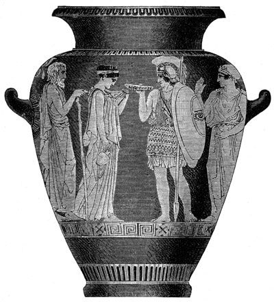 Black and white clip art of Greek Pottery from Karen\'s.