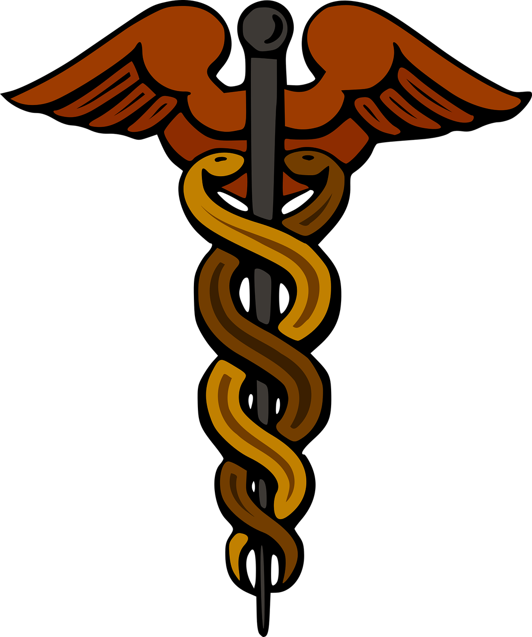 Staff of Hermes Caduceus as a symbol of medicine Greek.