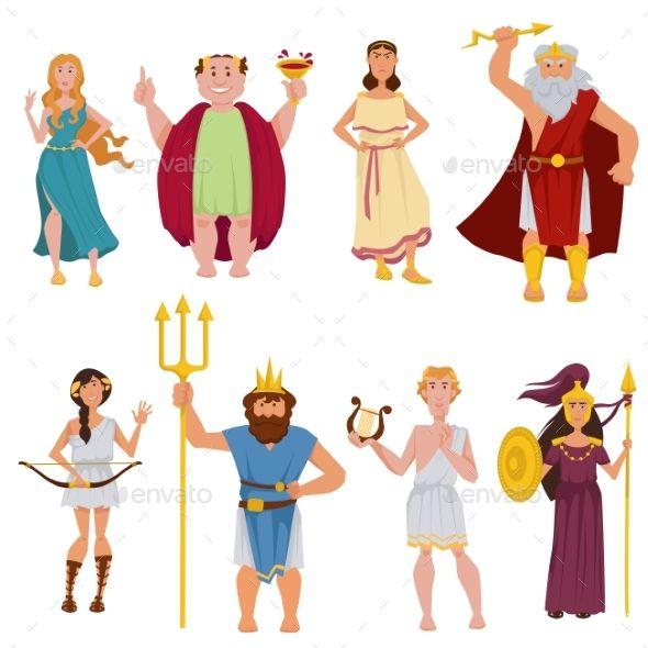Ancient Greek Gods Vector Cartoon Characters #Gods, #Greek.