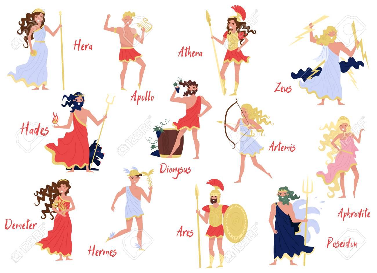 Olympian Greek Gods set, Hera, Dionysus, Zeus, Demetra, Hermes,...