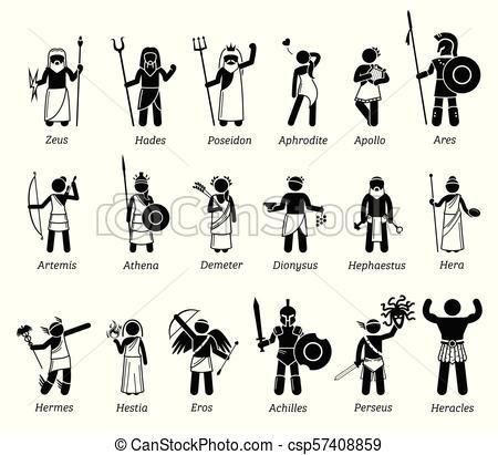 Ancient Greek Mythology Gods and Goddesses Characters Icon Set.