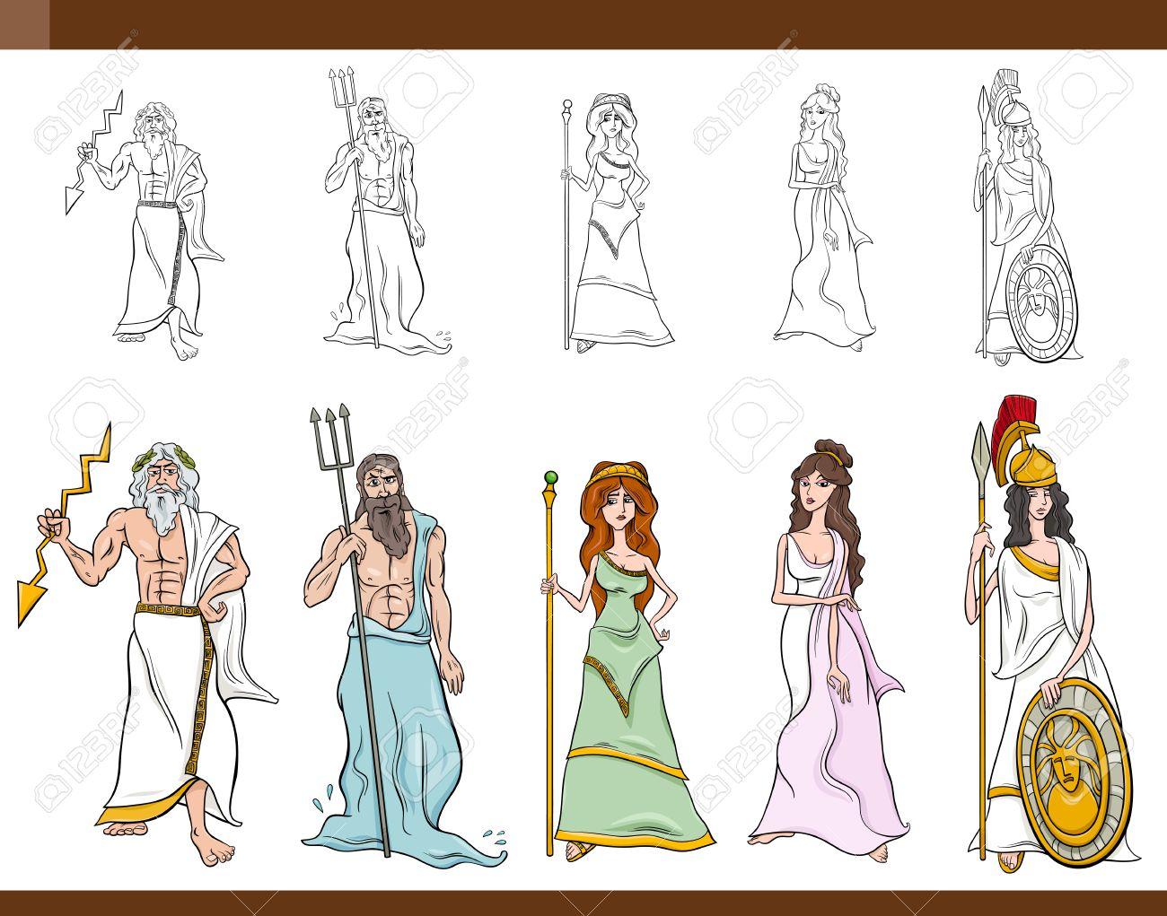 Cartoon Illustration of Mythological Greek Gods and Goddesses...
