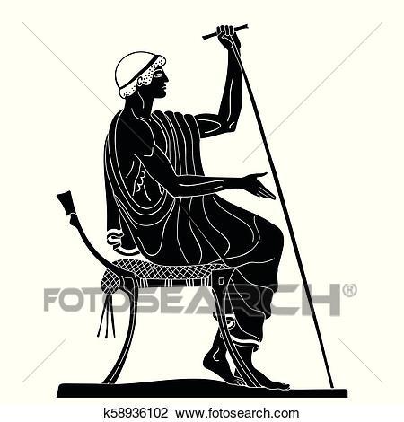 Ancient Greek man. Clipart.