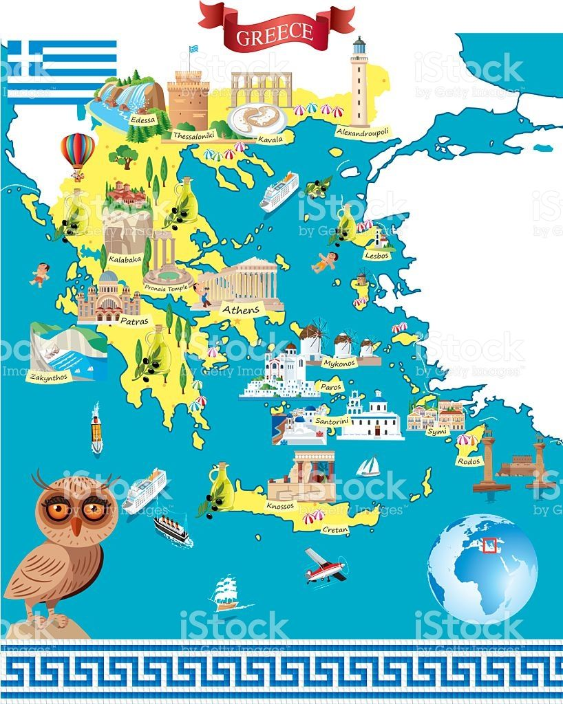 Greece Cartoon map in 2019.