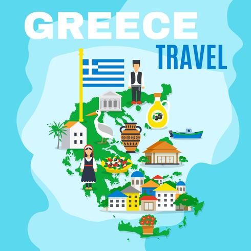 Map Greece Poster.