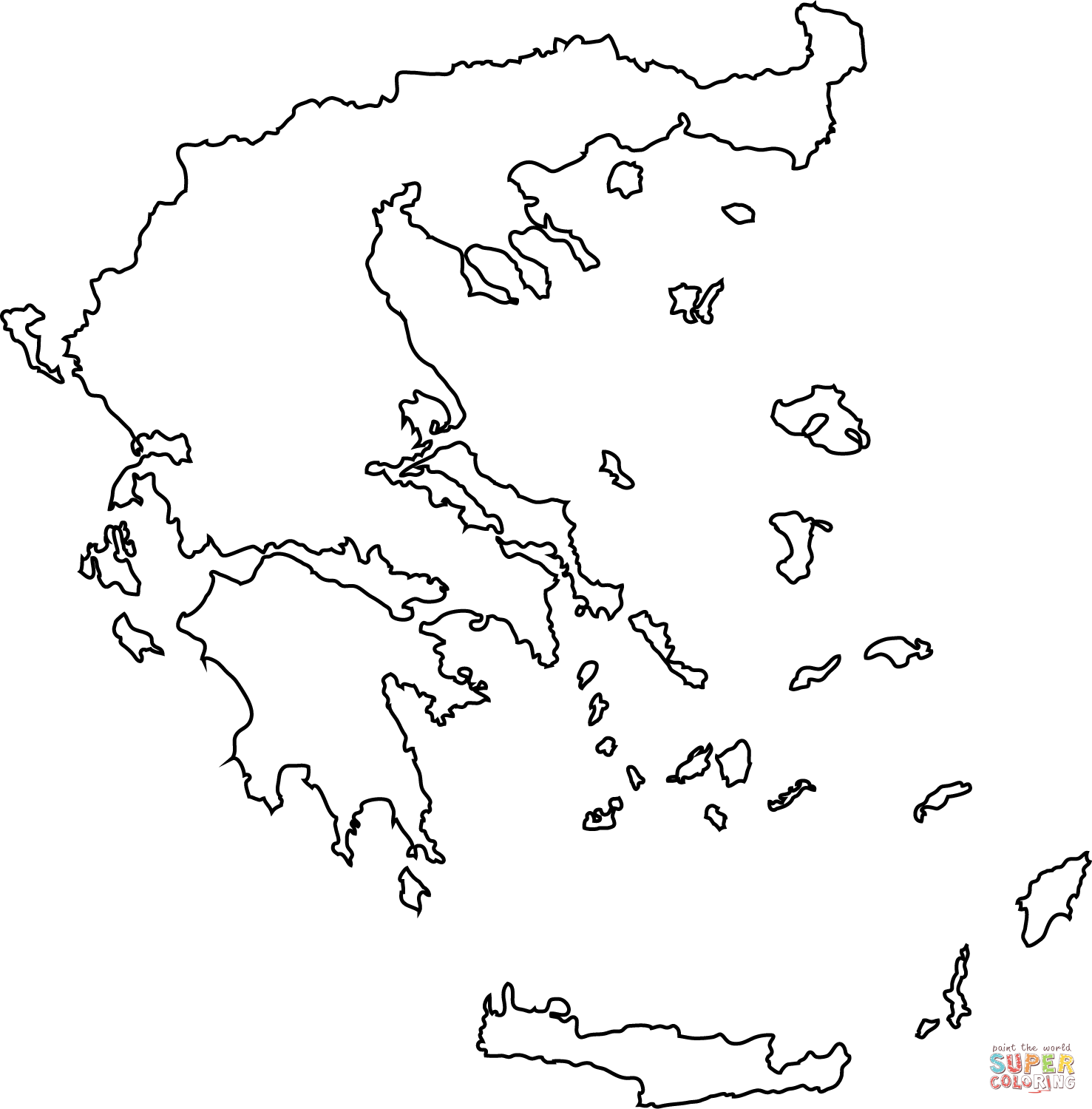 Greece map outline coloring page.