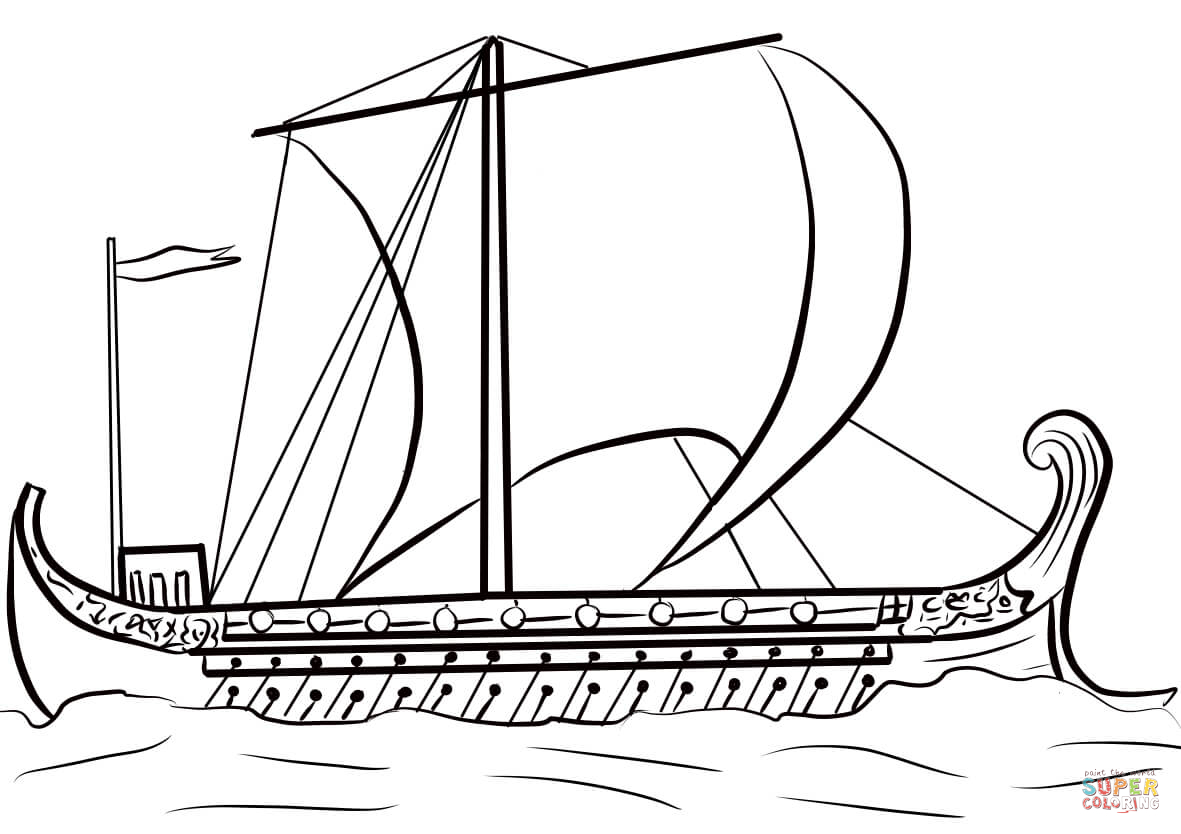 Ancient Greek Ship coloring page.