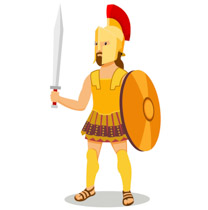 Ancient greek soldier with sword shield armor clipart.