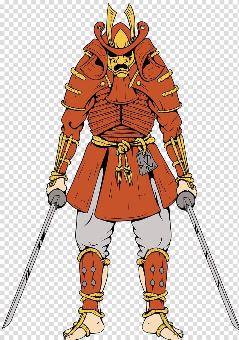 Samurai Kanji Warrior Illustration, Ancient Guardian.