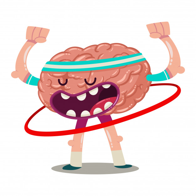 Funny cartoon brain trains with hula hoop. vector character.