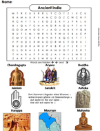 Ancient India Word Search.