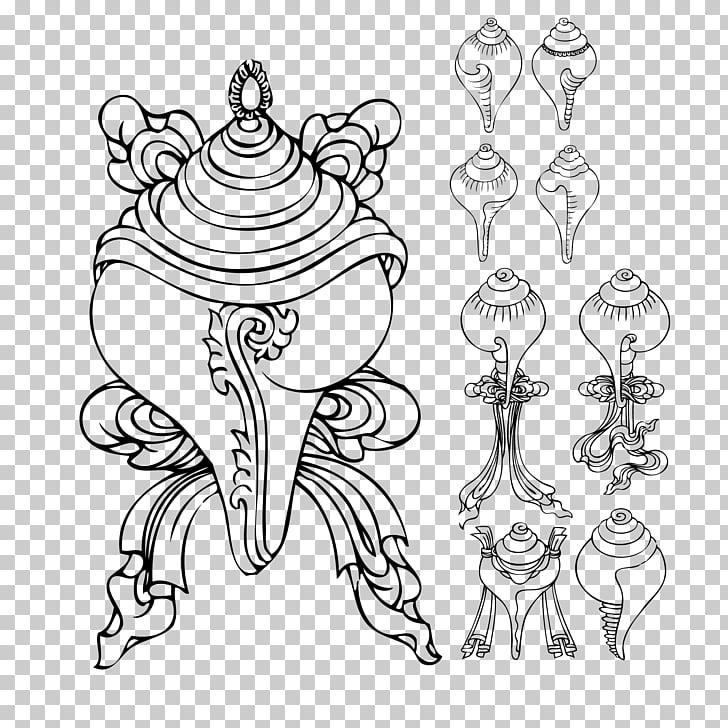 Ashtamangala Symbol Graphic design, Ancient Indian Ares.