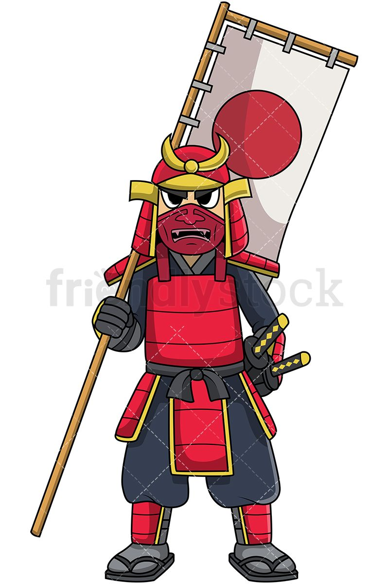Japanese Samurai Warrior In Battle Armor Holding Banner Flag.