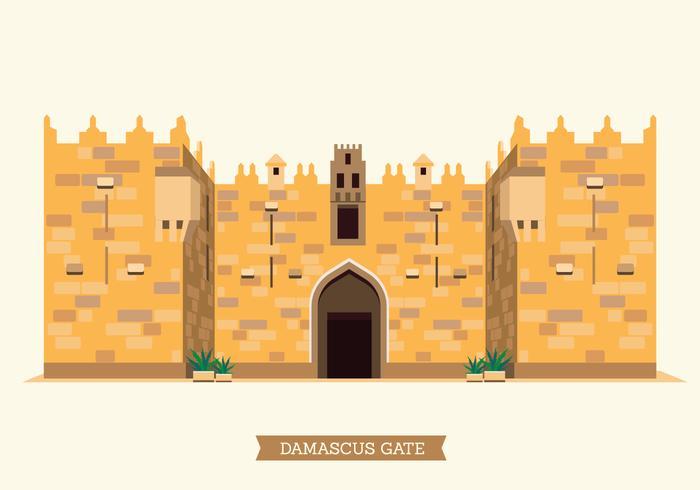 The Old City of Jerusalem Damascus Gate Illustration.