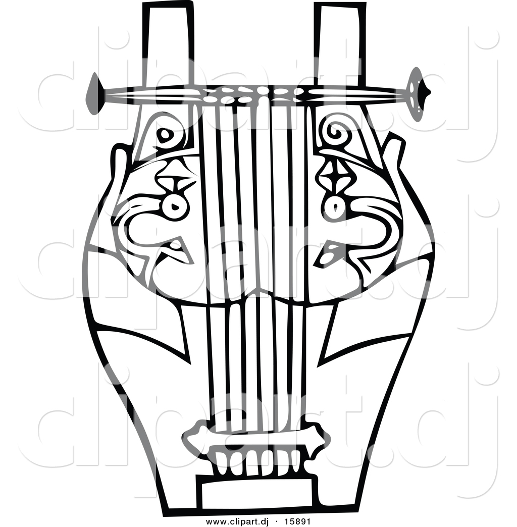 Vector Clipart of a Lyre Instrument.
