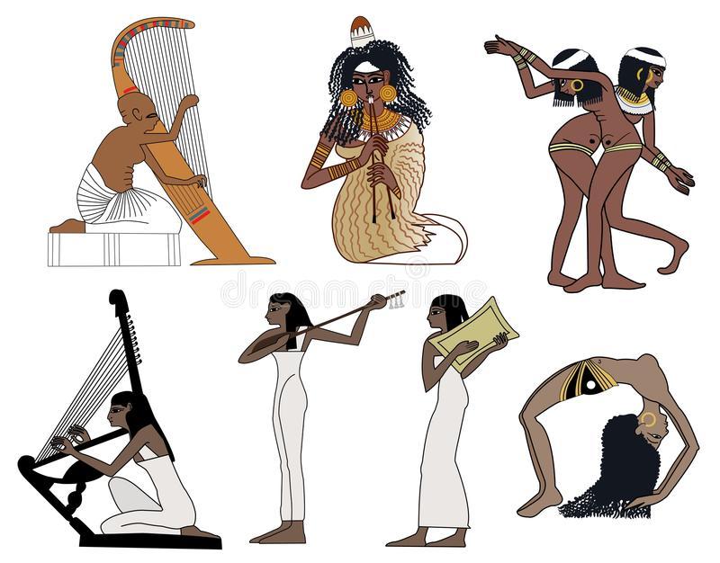 Egyptian Instruments Stock Illustrations.