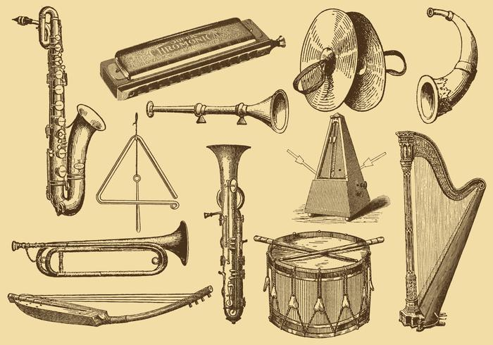 Old Style Drawing Musical Instruments.