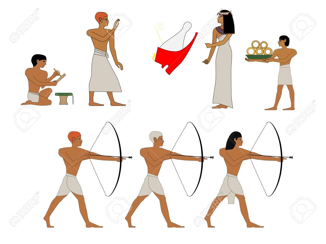 Ancient Egyptian people scene illustration.