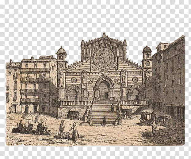 City Cartoon, Renaissance, History, Cathedral, Ancient.