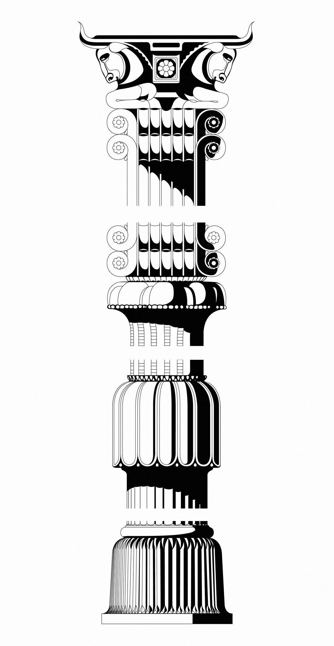 An ancient Persian column from Babylon. Historical.
