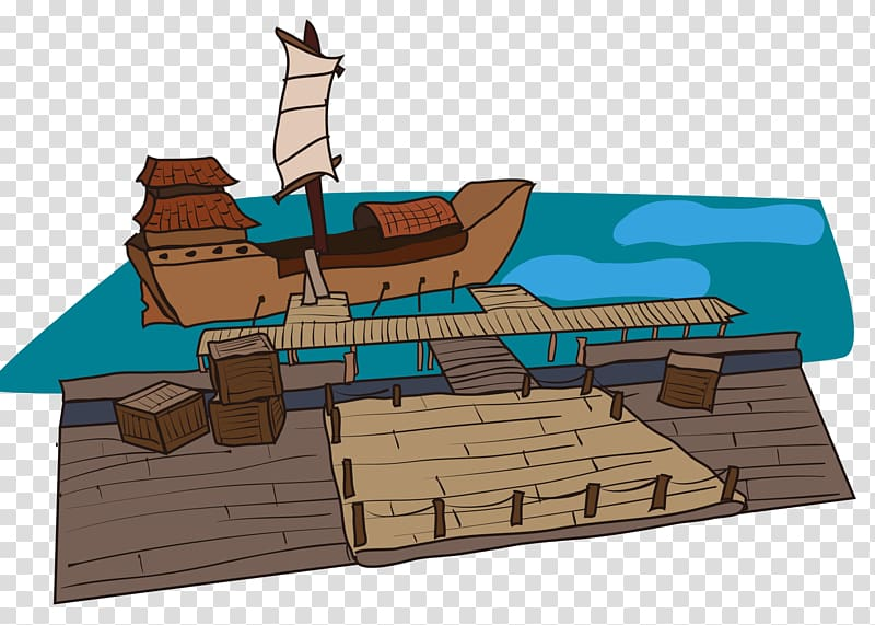 Port Wharf, ancient pier transparent background PNG clipart.