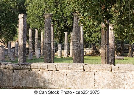 Stock Images of Palaistra or fighting arena remains at ancient.