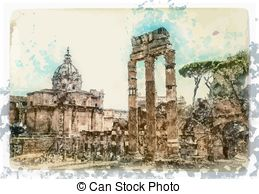 EPS Vectors of Rome (ancient Roman Forum).