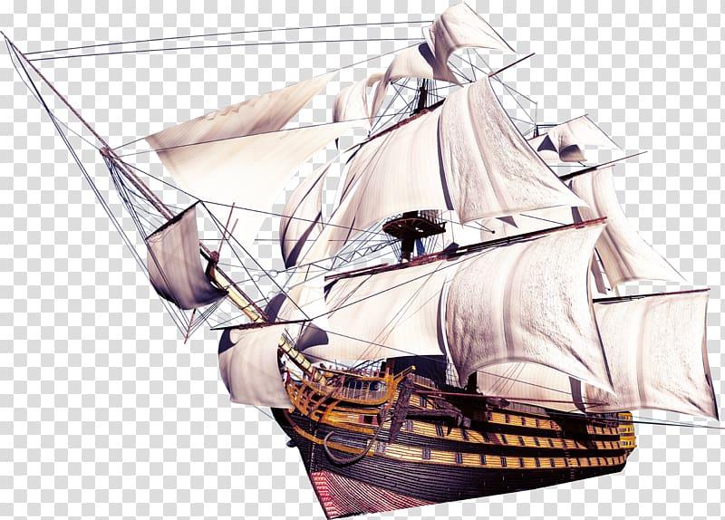 Sailing ship, Ancient sailing transparent background PNG.