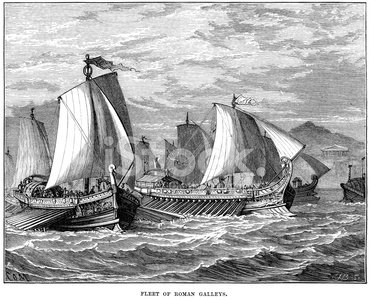 Fleet of Ancient Roman Galleys Clipart Image.